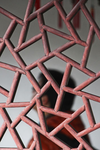 Chinese Window Close-up Day Indoors  Low Angle View No People Pattern Red Sky Window