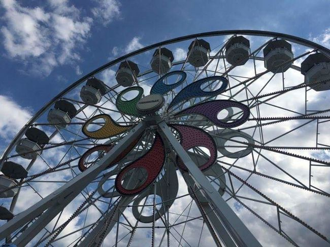 I love this photo! The perfect day for a visit to hersheypark pennsylvania Low Angle View Ferris Wheel Sky Arts Culture And Entertainment No People Outdoors Day Amusement Park Big Wheel