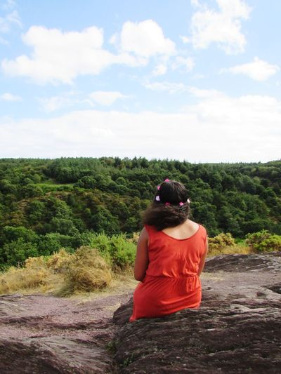Rear view of woman wearing tiara sitting on rock against trees