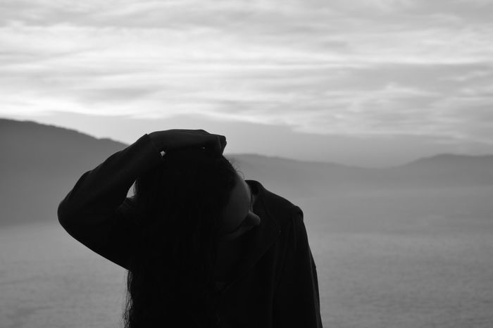 Beauty In Nature Blackandwhite Blackandwhite Photography Cloud - Sky Coldness Majestic Mountain Nature Outdoors Remote Sea Sea And Sky Sensitive Sensitivity Silhouette Sky Tranquil Scene Tranquility Woman Woman Portrait