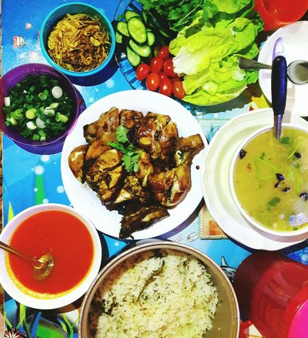 Home made chicken rice with salads and soups Red Sauce Soup Salad Colour Chicken Rice Multi Colored Directly Above Variation Plate Table Choice High Angle View Bowl Close-up Food And Drink