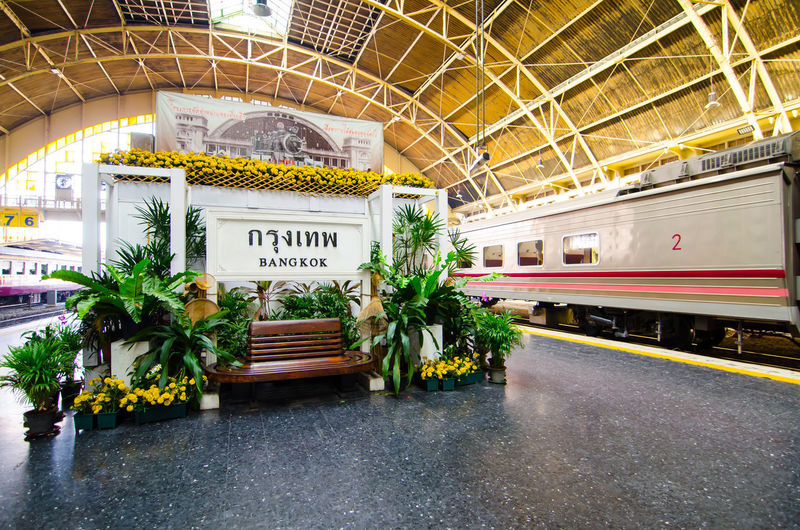 Hua Lamphong, or Bangkok Train Station, is the main terminal to northern, eastern, northeastern and southern Thailand. Bangkok Station Hua Lum Phong Thailand Transportation Traveling Landmark Platform Railway Station Track Train