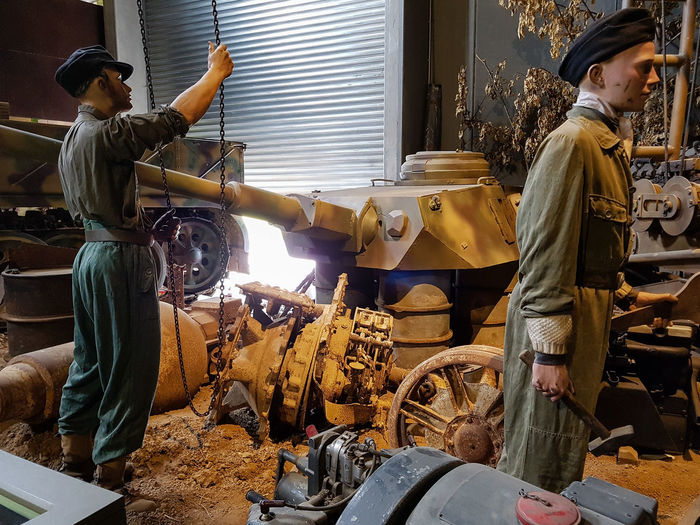Overlord Museum, Colleville-sur-mer, Normandy, France, July 2017 D-Day German Soldiers Operation Overlord Overlord Museum Soldiers Damaged Education Exhibition Exhibits History Museum Occupation Overlord Panther Tank Working Workshop
