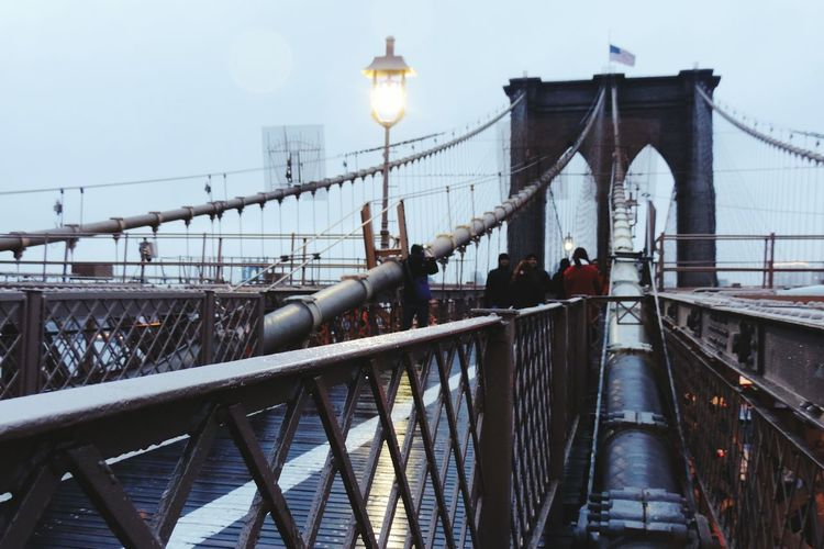 NY Brooklyn Brooklynbridge Winter Cloudy Bridge USA Landscape