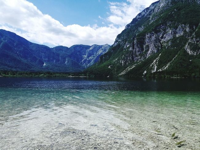 Mountain Lake Cloud - Sky Nature Reflection Beauty In Nature Water Scenics Mountain Range No People Tranquility Tree Sky Outdoors Day Freshness Landscape EyeEm Selects Full Length Slovenia ❤ Bohinj My Favorite Photo Beauty In Nature IfeelsLOVEnia Summer