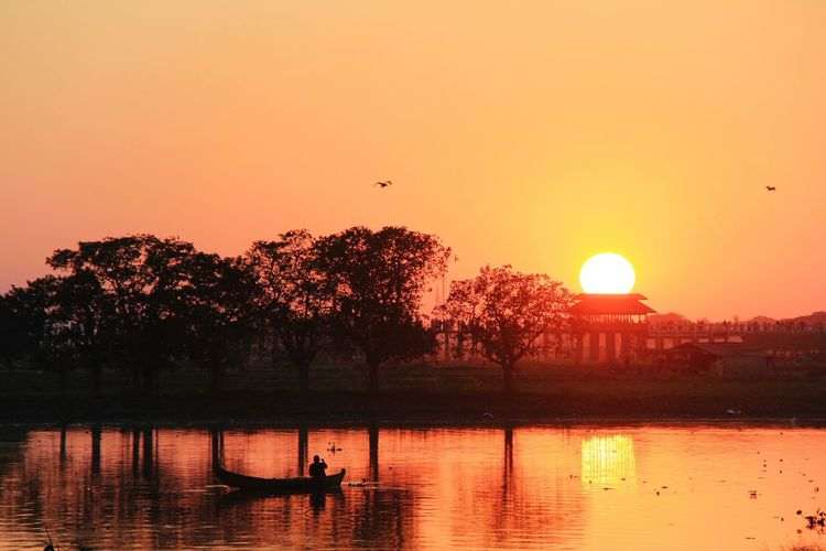 Sunset Sky Reflection Water Nature Orange Color Beauty In Nature Bird Lake Tranquility Sun Tree Silhouette Scenics - Nature Tranquil Scene Nautical Vessel Architecture Transportation Outdoors Mandalay,Myanmar