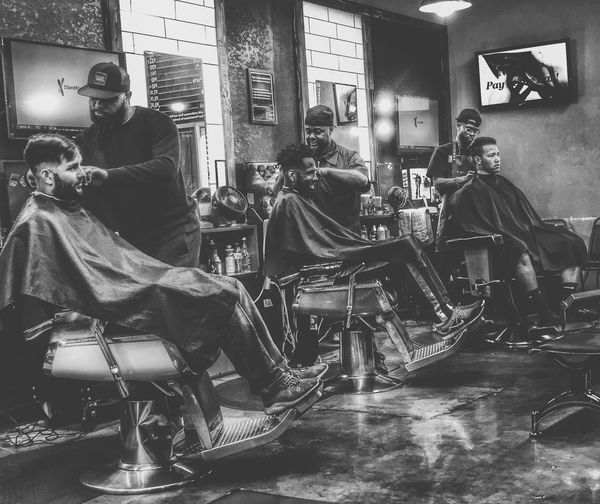 Shop life Haircut Barbershop Urban Sitting Real People Men Seat Chair One Person Lifestyles