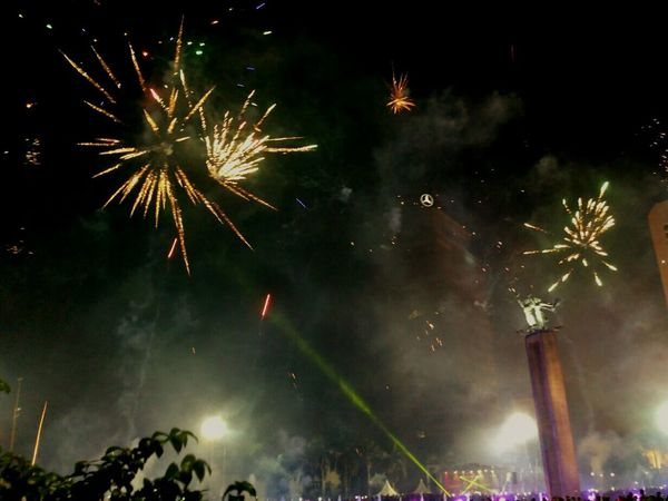 celebration new year 2018 at DKI Jakarta Celebration Night Firework Display Firework - Man Made Object Event Arts Culture And Entertainment Exploding Low Angle View