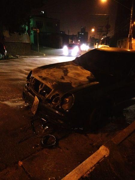 Burned Car Saopaulocity Sao Paulo - Brazil Car Mercedes Benz