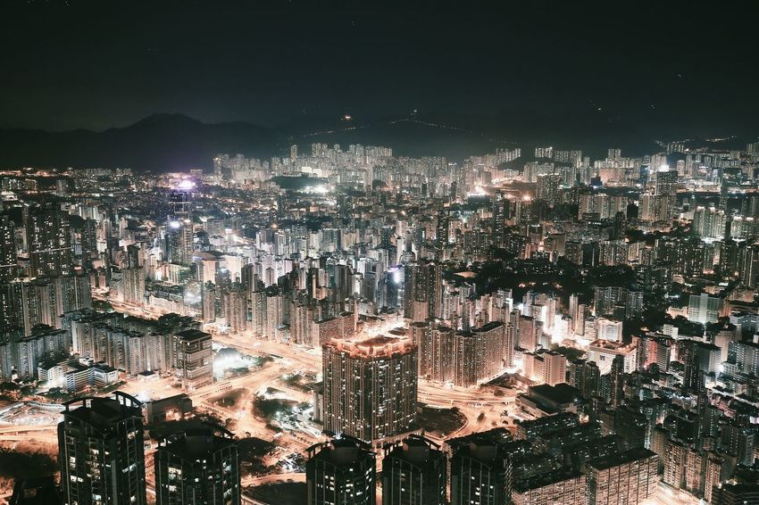 Cityscape Night Illuminated City Architecture Skyscraper Building Exterior No People Modern Built Structure Outdoors Sky HongKong The City Light Hong Kong Architecture Architecturelovers Urban Landscape High Angle View Urban Skyline Landscape_photography Darkness And Light Architecture_collection Travel Destinations
