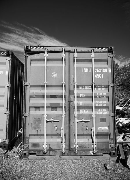 Shipping container G85 Lumix Panasonic  Nature Blackandwhite Nature No People Sky Communication Day Text Outdoors Container Metal