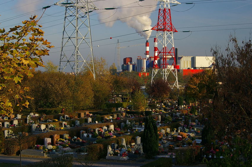 THE END Smoke Autumn Churchyard View Cimetiere Incinerator No People