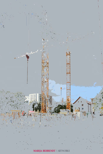 Architecture From Northern Germany ArtWork Collage Art Construction Construction Site Copy Space Growth Marija Behrendt Modern Planning Poster Architecture Backgrounds Banner Blue Sky Building Built Structure Capital City Construction Work Crane Development Full Frame Mixed Media Art Property