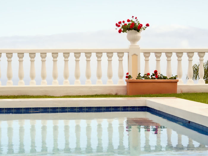 Minimalism of form and color, a terraced white space with a white pot with dark red geraniums against whitish sky. In front of it, the section of a water basin with the reflection of the columns in the water. Without People Outdoor Object Nature White Ambience Very Bright In The Water Reflection Of The Columns Pool Of Water Detail In Front Of Very Bright Sky Dark Red Geraniums White Pot Terraces White Painted Pillars Shape And Colors Minimalism Water Plant Flower Flowering Plant Reflection Waterfront Architecture Day No People Sky Built Structure Pool Outdoors Beauty In Nature Travel Destinations Freshness Reflecting Pool Flower Pot