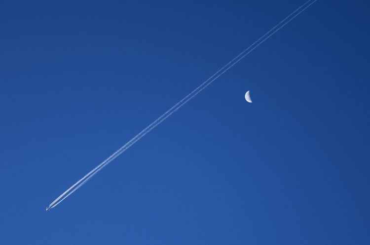 Airplane Astronomy Beauty In Nature Blue Clear Sky Contrail Crescent Crescent Moon Day Flight FlyBy Half Moon Moon Morning Morning Light Morning Sky Nature No People Outdoors Plane Scenics Simplicity Sky Space Vapor Trail