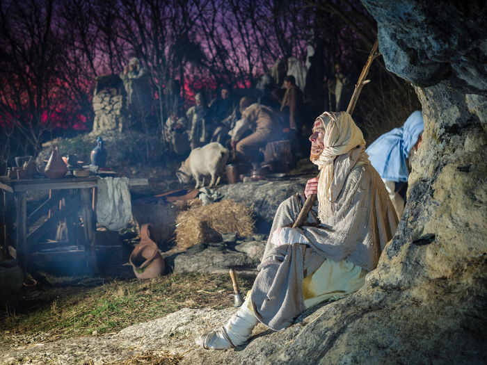 Villaga, Italy - December 30, 2017: Leprous dressed in rags during a historical re-enactment in the caves of Villaga, Italy. Bacteria Bacterium Bandages Beggar Blood Bruises Contagious  Dirty Disability  Disfiguring Human Infected Infectious Leprae Lepromatous Leprosy Leprous Loneliness Marginalization Outdoors Rags Sad Scars Sickness Skin Sores Ulcers