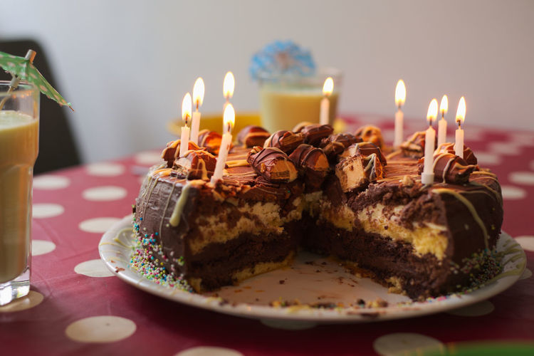 Chocolate Birthday Birthday Cake Birthday Candles Burning Cake Candle Celebration Chocolate Cake Close-up Day Flame Food Food And Drink Freshness Heat - Temperature Illuminated Indoors  Indulgence No People Plate Ready-to-eat Selective Focus Sweet Food Table
