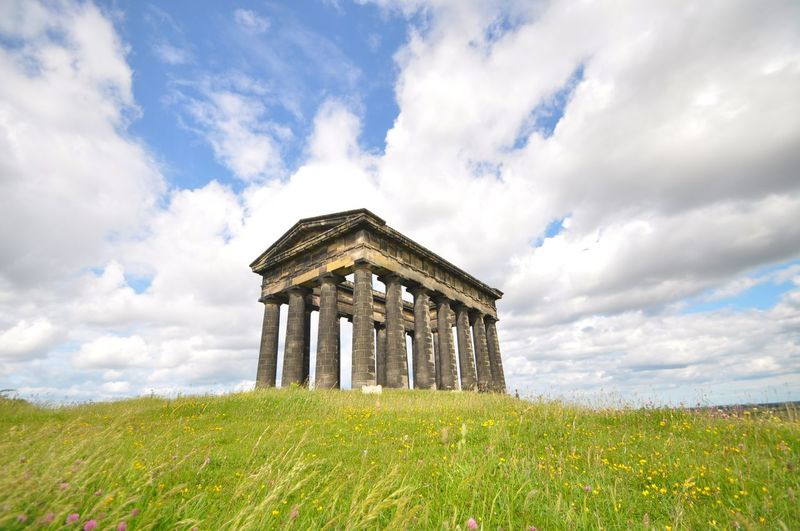 The Penshaw Monument Cloud - Sky Sky Built Structure Architecture Grass History Field Old Ruin Architectural Column Travel Destinations Low Angle View Nature Building Exterior Scenics Landscape Ancient Outdoors