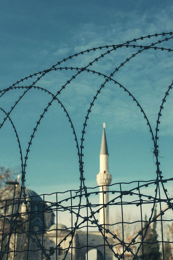 Architecture Safety Built Structure Protection Security Fence Boundary Barrier Sky Barbed Wire Building Exterior Sharp No People Metal Nature Building Focus On Foreground Tower Razor Wire Day Outdoors Mosque Muslim Istanbul