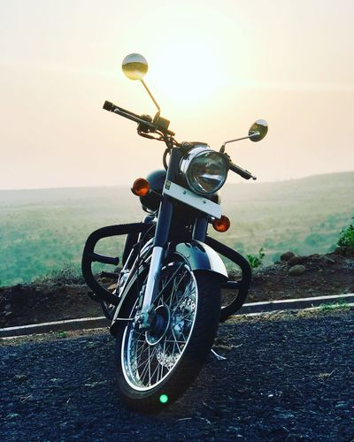 Transportation Land Vehicle Motorcycle Mode Of Transport Road Day Outdoors Sky Nature royal enfield