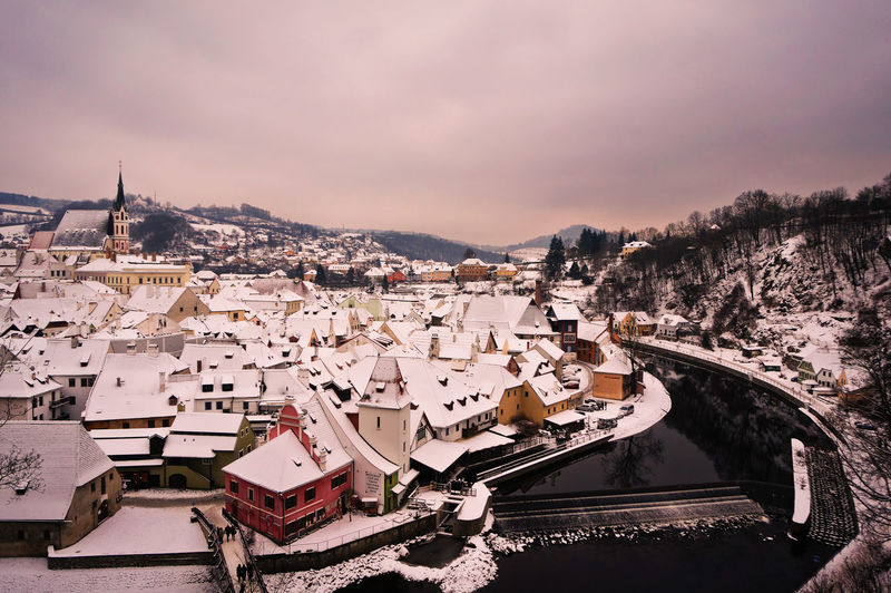 Aerial View Of Town During Winter
