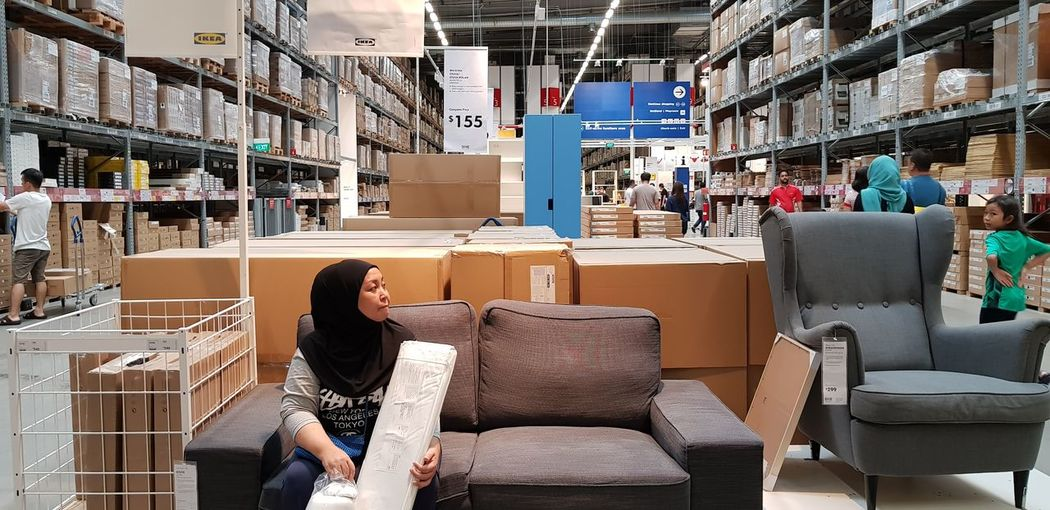 Shopping @IKEA Ikea♥ Ikea Design Stock Shopping Time Working Women Sitting Full Length Occupation Business Rear View Furniture Armchair Home Showcase Interior