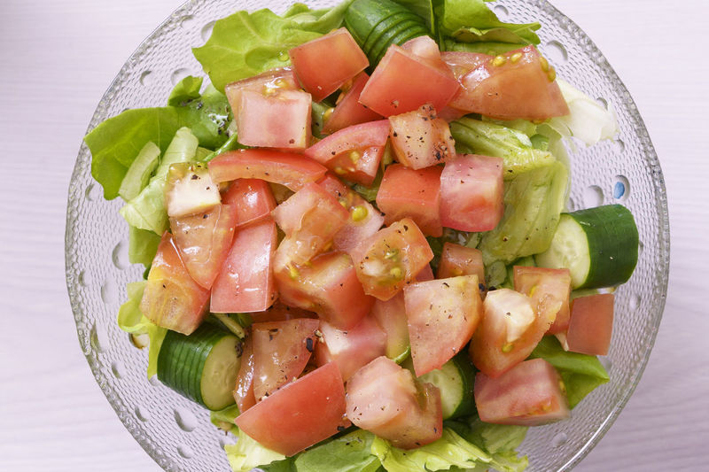 Close-up of salad served in plate