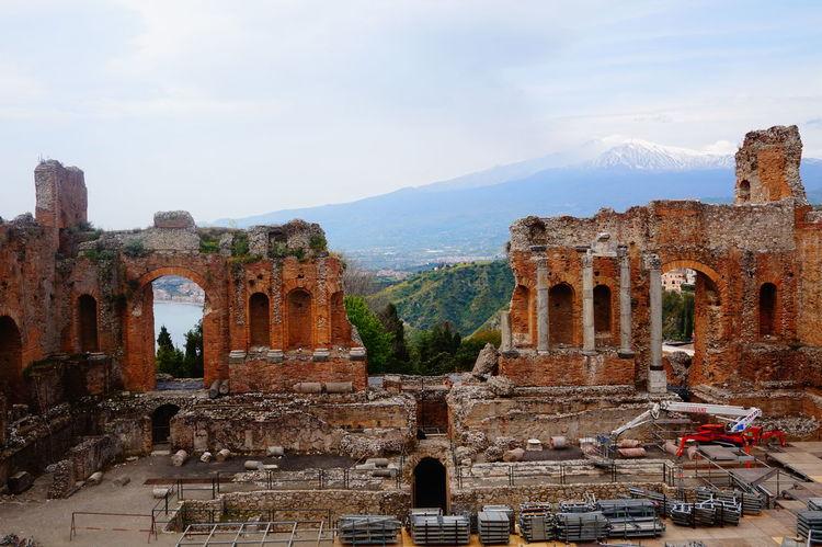 Taormina And Etna Taormina Theater Greek Theatre  Old Ruin History Outdoors Etna Volcano