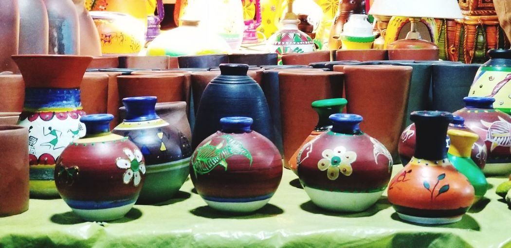 beauty of creativity Bazaar Pottery Colorful Shilparamam Hyderabad Choice Variation Retail  Market For Sale Close-up Shelves Display Window Display Stall Market Stall Arrangement Collection Shop Street Market