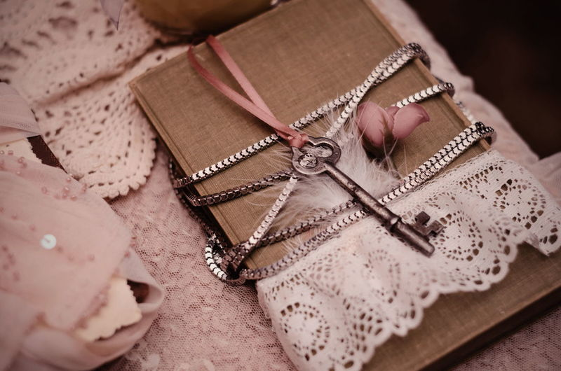 Diary Journal Decoration StillLife Stylish EyeEm Selects High Angle View Ribbon - Sewing Item Table Close-up Lace - Textile Handmade