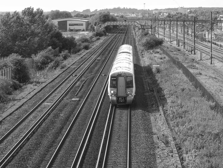 Railroad Track Rail Transportation Transportation Day Outdoors Nature Sky No People Monochrome Black And White Train Rail Travel  Railroad Track Lines Transport Summer Motion From A Bridge View Railway Rails Railway Bridge Shapes And Forms The Week On EyeEm