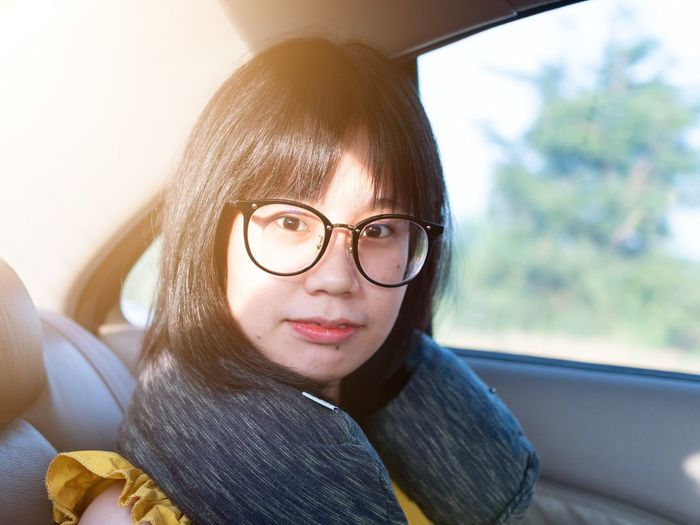 beautiful women with sunrise Young Women Portrait Eyeglasses  Beautiful Woman Beauty Sitting Looking At Camera Women City Wireless Technology Back Seat Seat Belt Taxi Passenger Seat Car Interior Limousine Passenger Car Point Of View Windshield Vehicle Interior Vehicle Seat Steering Wheel Hailing EyeEmNewHere