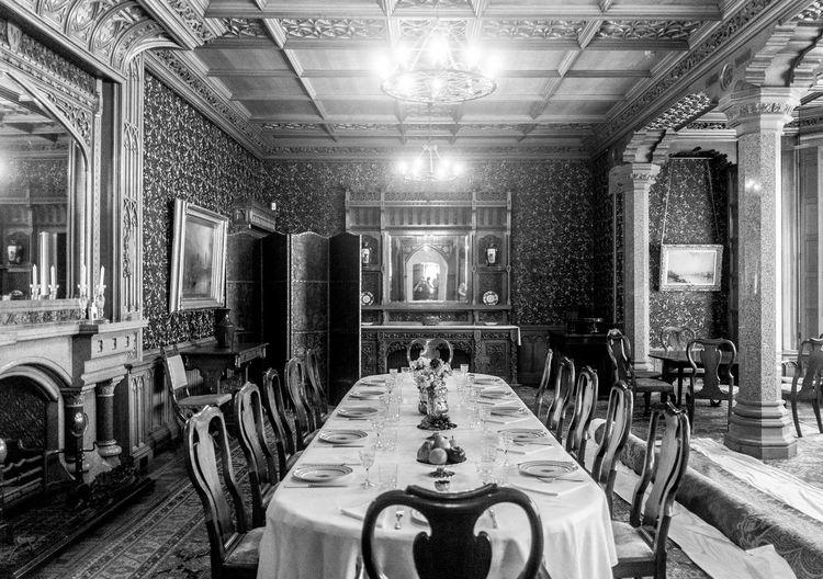 Dining room, Tyntesfield, Bristol Tyntesfield Black And White Monochrome National Trust
