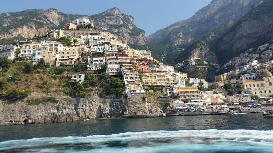 Houses On Mountain At Shore In Positano
