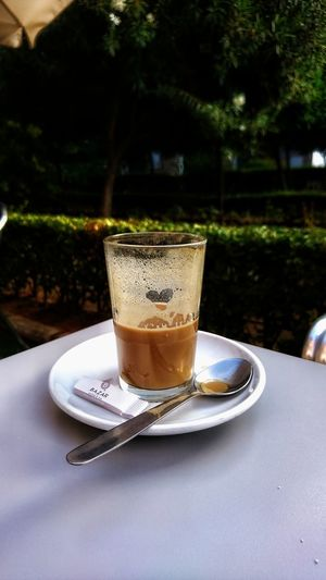 Coffe with heart Tree Drink Drinking Glass Plate Water Table Close-up Sweet Food Food And Drink