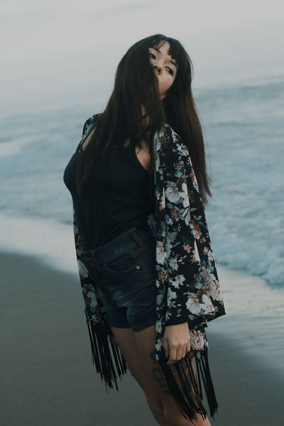 Three Quarter Length One Woman Only Only Women One Person Beautiful Woman People Long Hair Fashion Adult Adults Only Beauty One Young Woman Only Young Adult Portrait Beach Sea Women Standing Young Women Beautiful People Lost In The Landscape
