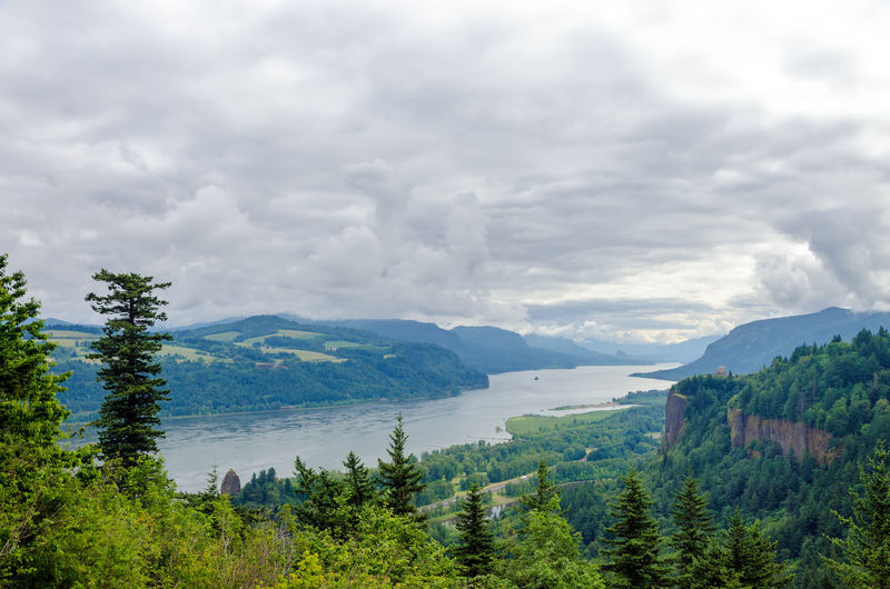 Scenic View Of Columbia River Gorge Against Cloudy Sky