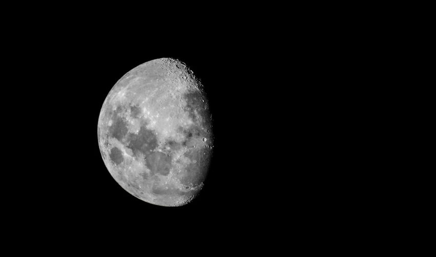Astronomy Beauty In Nature Black Background Clear Sky Copy Space Moon Moon Surface Nature Night No People Outdoors Sky Space