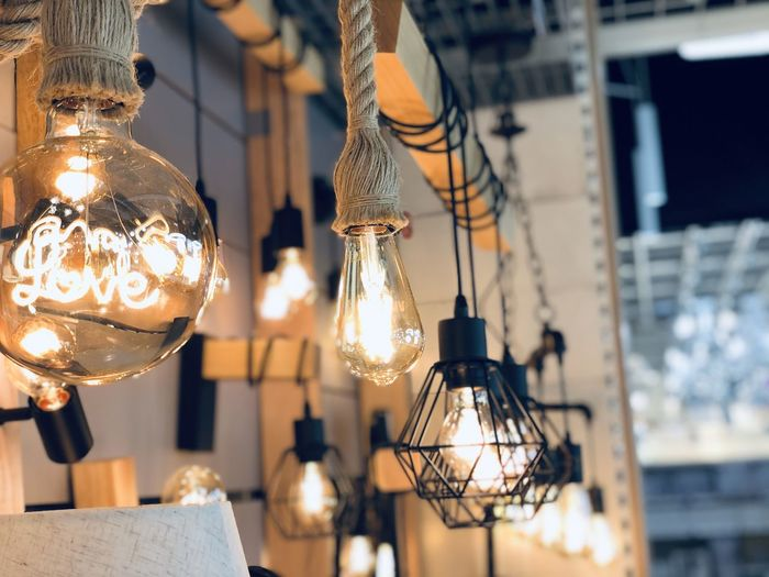 Electric bulbs and lamps hanging on wall lights for home decoration