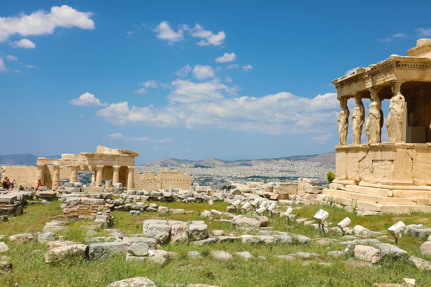 Caryatid Caryatids Of The Acropolis Porch Ancient Ancient Civilization Archaeology Architectural Column Architecture Building Exterior Built Structure Caryatides Caryatids Erechtheion History Nature No People Old Ruin Outdoors Place Of Worship Ruined Sky The Past Tourism Travel Travel Destinations