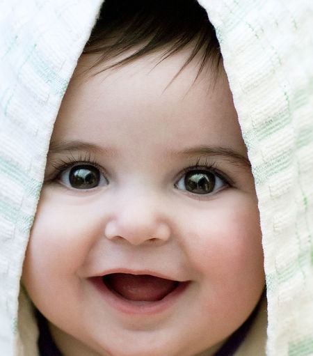 Happy Head Baby Babygirl Brown Eyes Close-up Cute Face Front View Headshot Human Eye Human Face Leisure Activity Lifestyles Person Portrait Smile