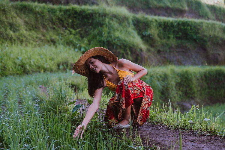 Young woman at rice terrace