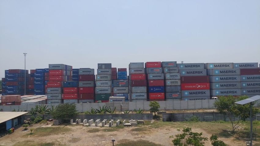 stack of containers at the port of Jakarta Port Jakarta Tanjung Priok Container Cityscape Urban Skyline Skyscraper Low Town Cargo Container Shipping  Commercial Dock Distribution Warehouse Shipyard Freight Transportation Place
