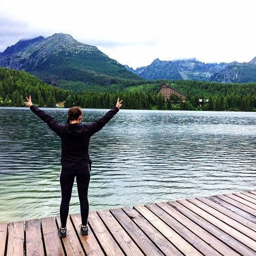 Lake Water Mountain Human Arm Arms Outstretched Arms Raised Nature One Person Outdoors Beauty In Nature Standing Scenics Full Length Adults Only Day Mountain Range Only Men Adult Real People One Man Only Strbske Pleso Landscape Me