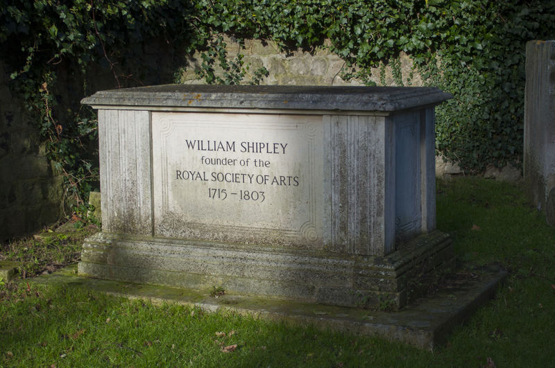 The memorial gravestone of William Shipley, Artist and founder of the Royal Society of Arts. The grave is in Maidstone, Kent, England. 18th Century Artist Burial Death Kent Maidstone, Kent, UK William Shipley Cemetery England Grave Growth Hogarth Maidstone Memorial Nature No People Royal Society Of Arts Rsa The Past Tombstone