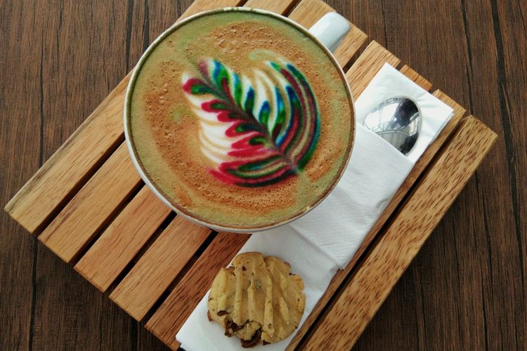 """"""" Hot Cappucino """" #coffee #coffee Time #hotcoffee #cappuccinotime Dessert Plate Table Wood - Material High Angle View Cake Directly Above Multi Colored Close-up Sweet Food Chocolate Cake Brownie"""