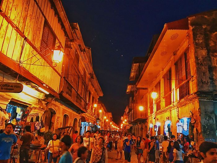 Paint The Town Yellow A walk down the cobblestone street of Vigan City, Philippines. Night Architecture Leisure Activity Outdoors Sky Spanish Paint The Town Yellow