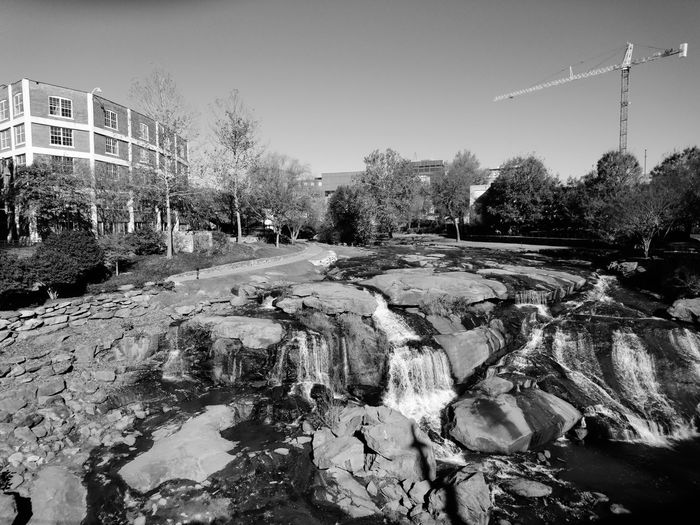 Greenville Falls Waterfall Waterfalls Urban Waterfalls South Carolina Greenville Tree City Winter Sky Architecture Building Exterior