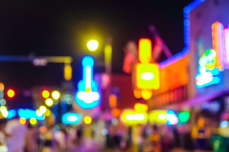 Music night Music Neon Sign Neon Lights Illuminated Night City Architecture Building Exterior Sign Street Focus On Foreground Multi Colored Defocused Light - Natural Phenomenon HUAWEI Photo Award: After Dark #urbanana: The Urban Playground