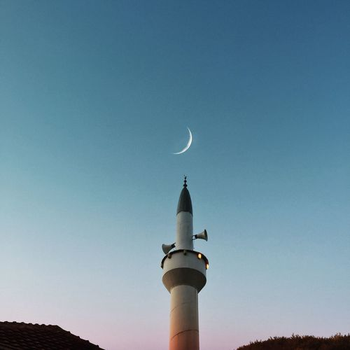 Minaret & moon VSCO Vscocam Ramadan Mubarak Ramadan  Crescent Moon Moon Minaret Nature EyeEm Best Shots EyeEm Gallery EyeEm Selects Sky Architecture Built Structure Building Exterior Tower Building Nature No People Communication Low Angle View Travel Destinations Blue Outdoors Night Travel Cloud - Sky Dusk Moon My Best Photo
